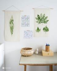 DIY Blätter auf Stoff drucken