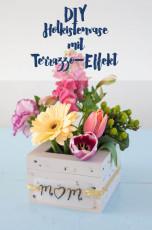 DIY Blumenvasen-Holzkiste mit Terrazzo-Effekt