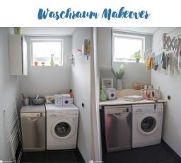 Waschraum Makeover und DIY Waschmaschinentisch