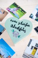 Holzschachtel für Urlaubsfotos mit Bild- und Schrifttransfer