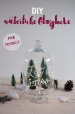 DIY winterliche Glasglocke mit Kreidemarkern verzieren