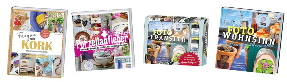Kreativfieber-DIY-Bücher---Fang-an-mit-Kork,-Foto-Wohnsinn,-Foto-Transfer-Bastelbox,-Porzellanfieber-Jutta-Handrup-und-Maike-Hedder-kreativfieber.de