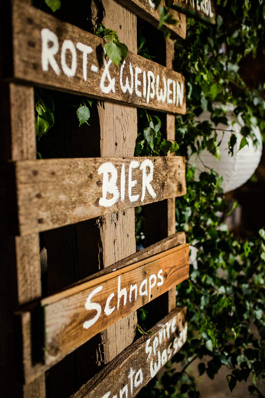 Hochzeit DIY - Getränke Schild selbermachen - Paletten ...