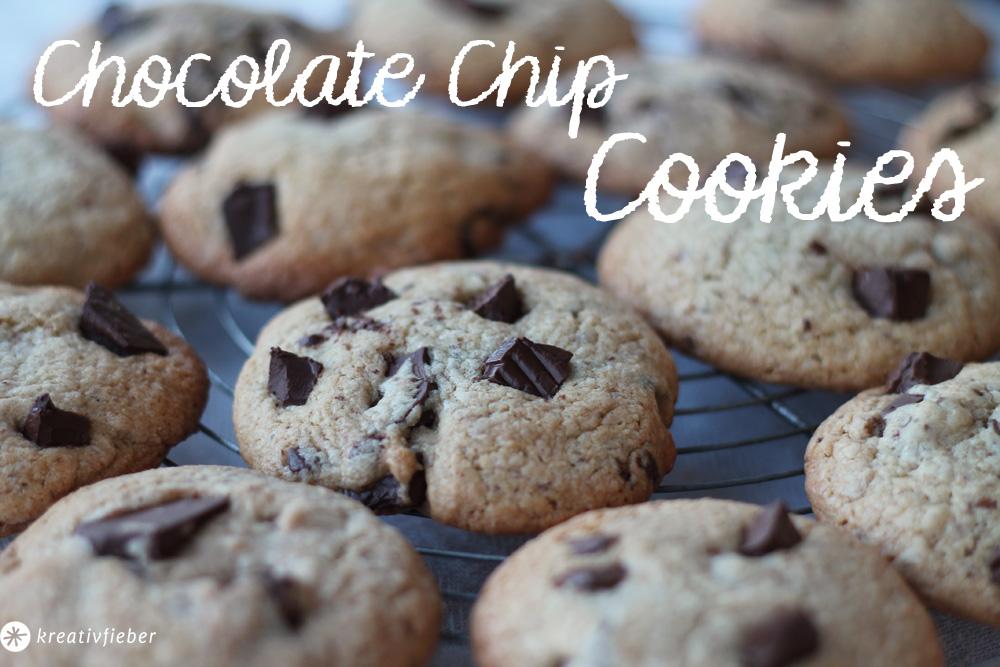 Leckere Chocolate Chips Cookies - außen knusprig, innen chewy