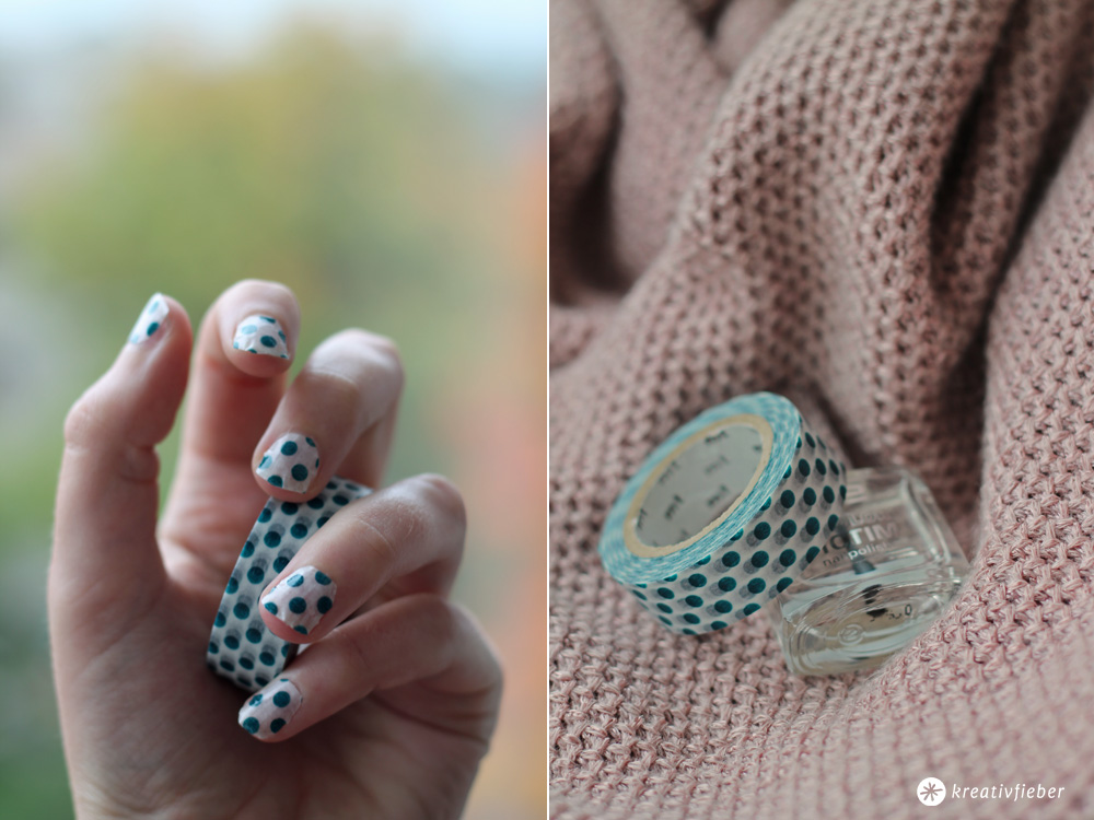 polkadot nailart with maskingtape