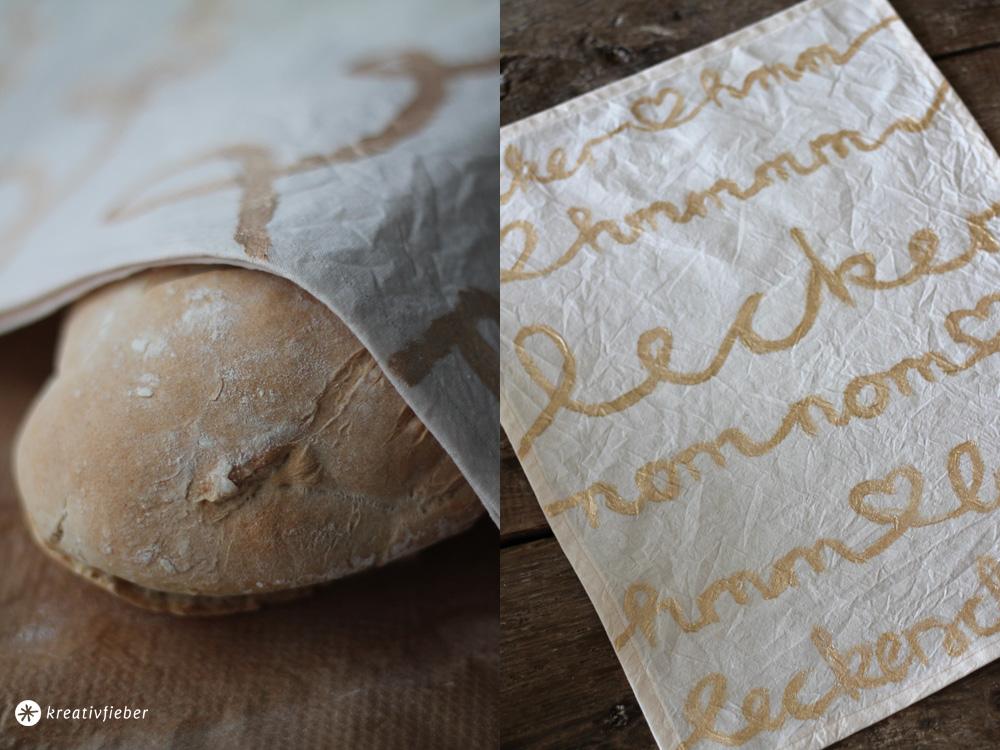 DIY Geschirrtuch mit goldener Schrift selbermachen -Geschenkideen
