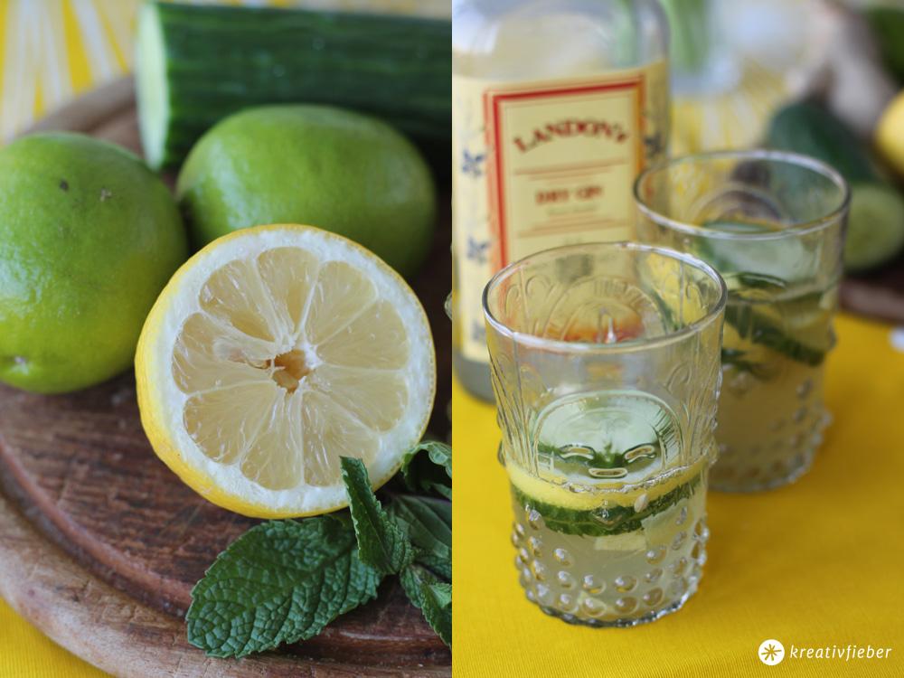 sommercocktail gin mit gurke und zitrone