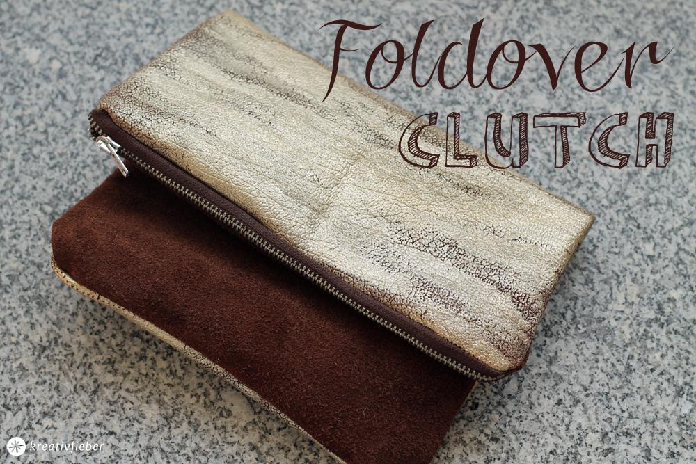 DIY Foldover Clutch - Leder und Gold - Näh Tutorial