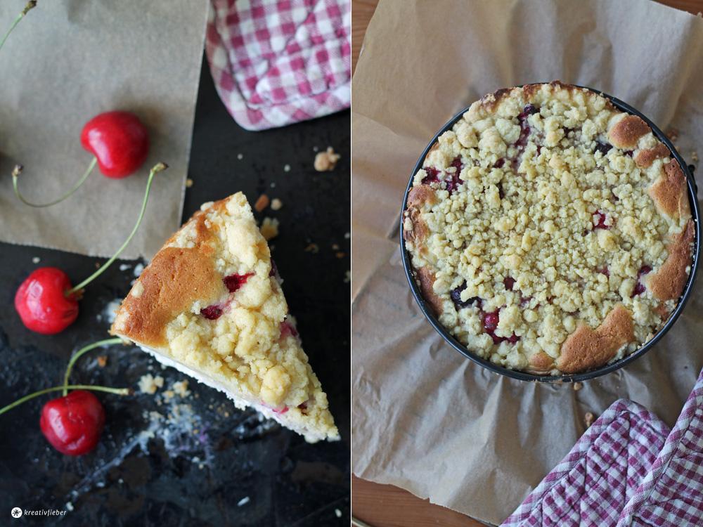 Kirsch Cheesecake mit Streuseln und Johannisbeeren