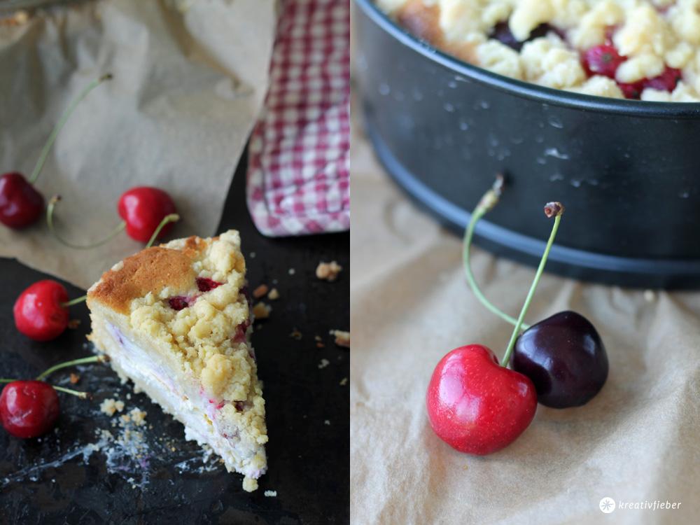 Kirsch Cheesecake mit Streuseln und roten Johannisbeerenkopie
