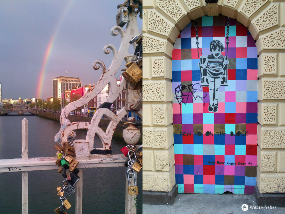 Regenbogen und Streetart Dublin