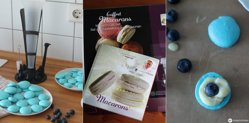 Blaubeer Macarons mit Coffret Macarons Set