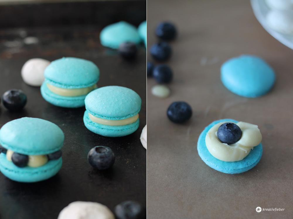 Blaubeer Macarons mit weisser Ganache