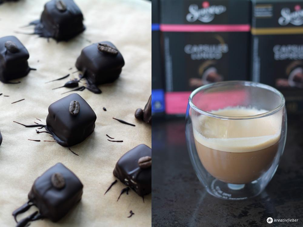 Espresso Pralinen mit Karamell und Senseo Capsules