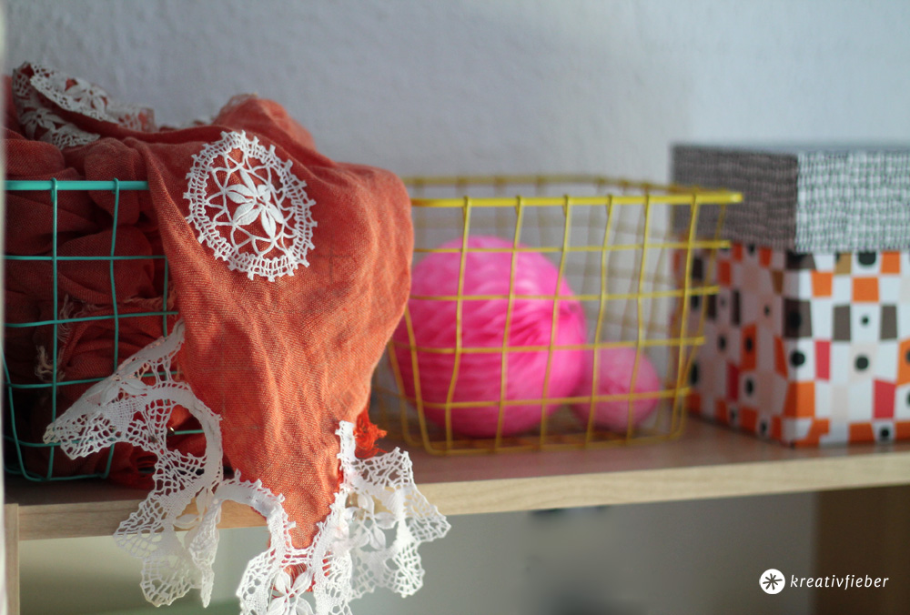 upcycling schal mit spitze