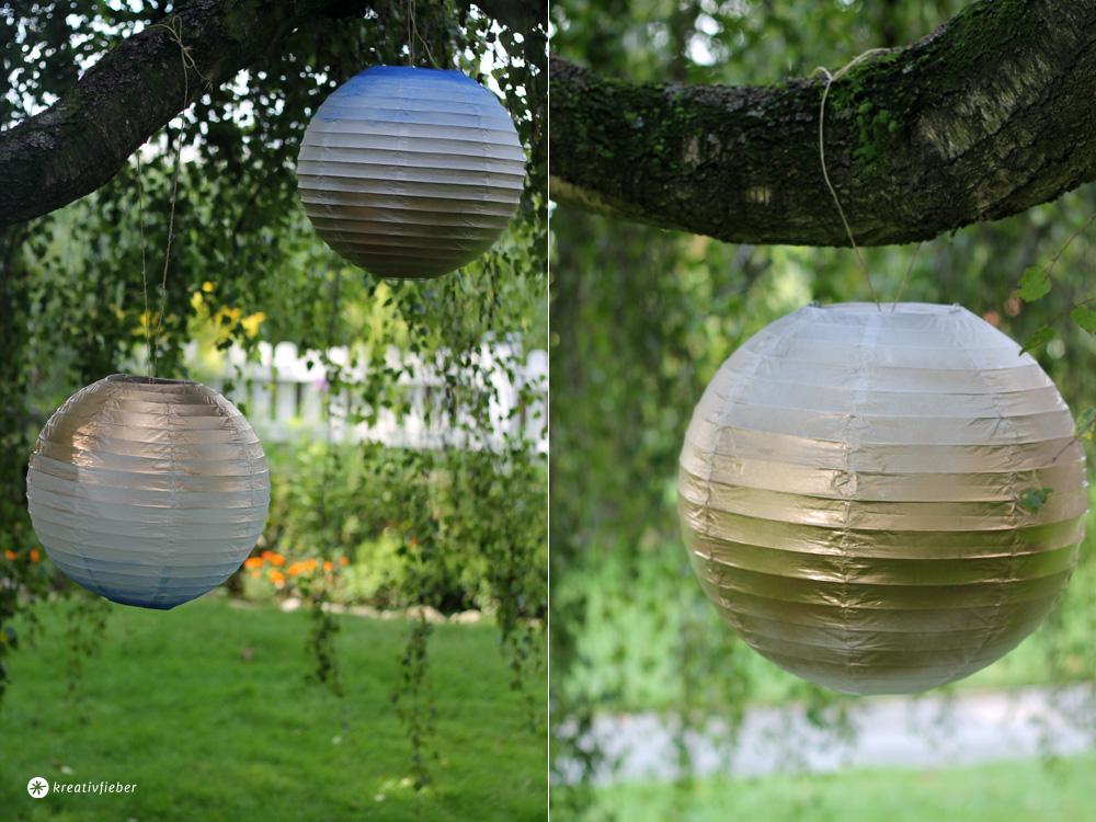 DIY Lampions verschönern mit Gold und Blau