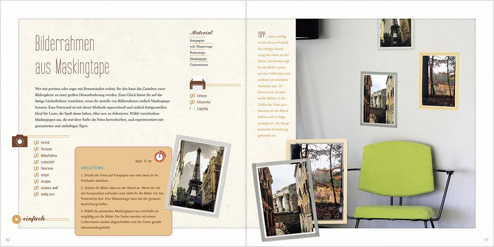 Foto Wohnsinn Blick ins Buch Bilderrahmen aus Maskingtape
