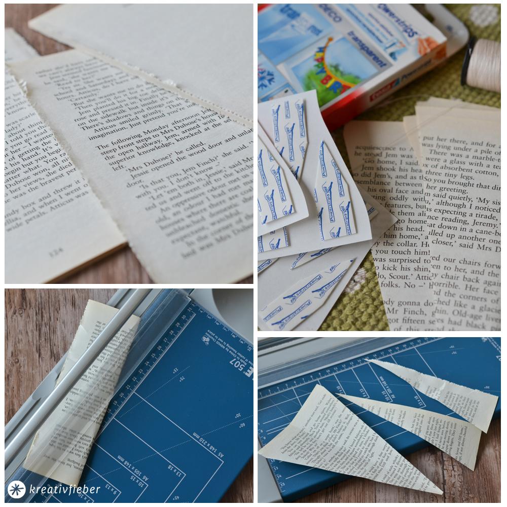 Girlande-Buchseiten-basteln