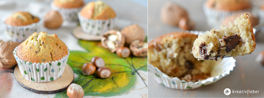 Nuss Schoko Muffins Rezept mit Hasel- und Walüssen