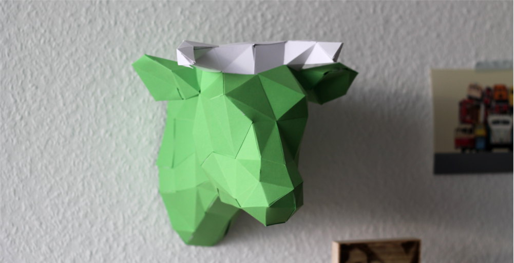 3D Origami Kuh von PaperShape