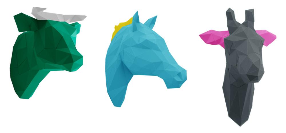 Tierkopf Deko papershape 3d origami tierköpfe