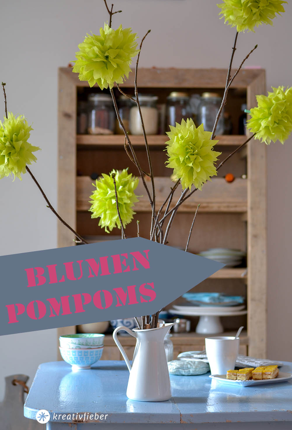 blumen pompoms servietten
