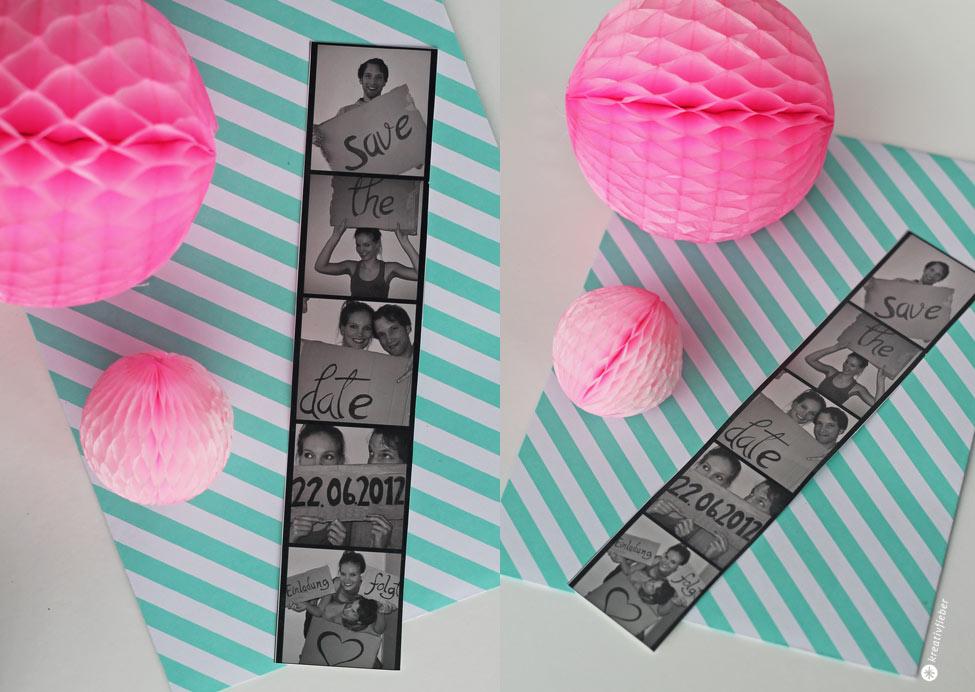 DIY Save the Date Photobooth Karte - Hochzeit DIY