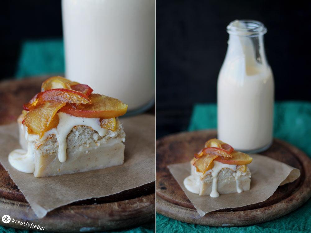 Magic-Cake-mit-Vanillesoße-und-Äpfeln