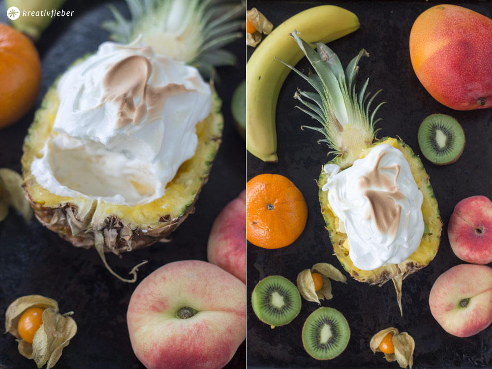 Ananas-Eisbombe-mit-Früchten,-Eis-und-Baiser---Dessert-Rezept-für-den-Sommer