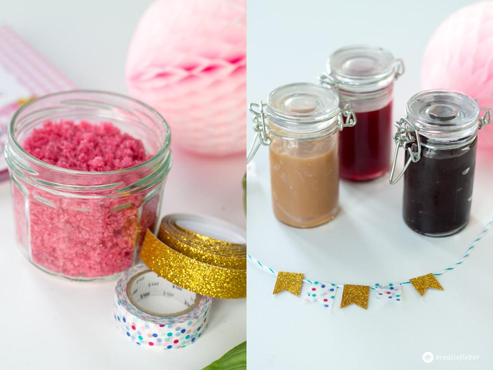 Eisparty-mit-Himbeersoße-und-Himbeerzucker,-Schokosoße-und-Karamellsoße--Post-aus-meiner-Küche-Sommer-im-Glas