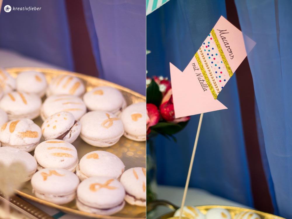 Macarons-mit-Gold-Hochzeit-Sweet-Table