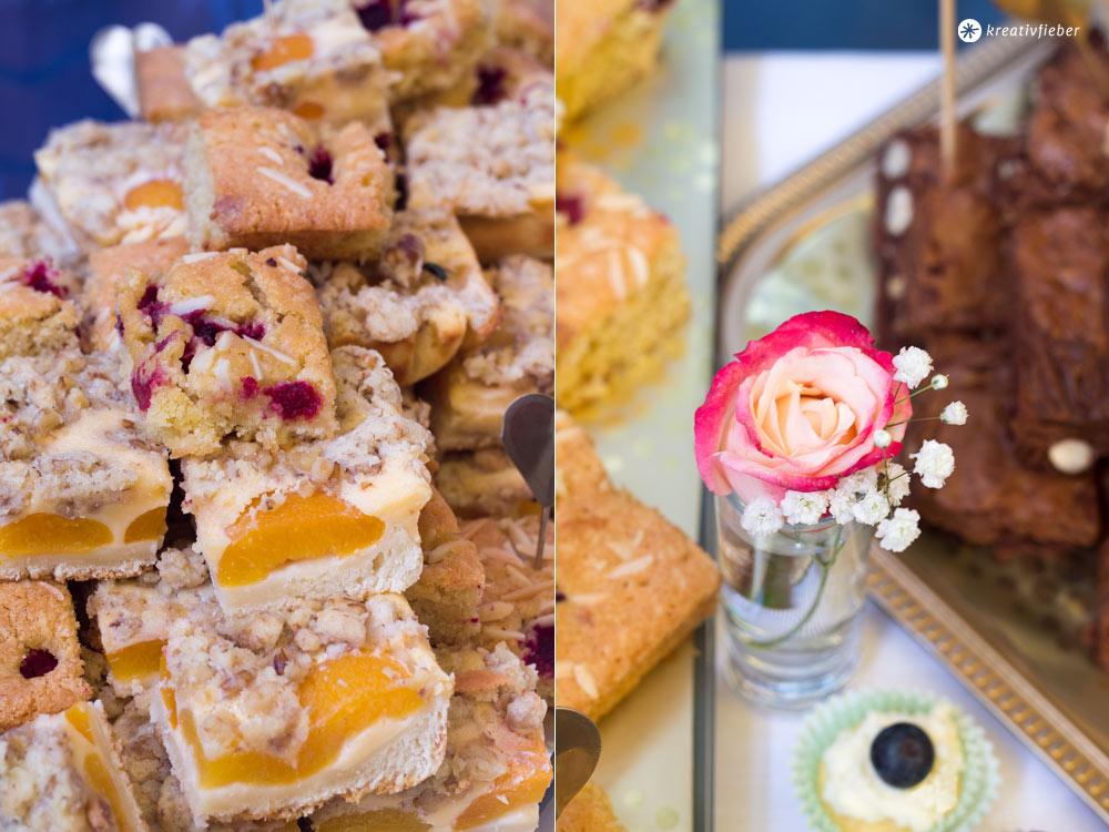Himbber Blondies mit weißer Schokolade und Mandelsplittern - Sweet Table Rezept