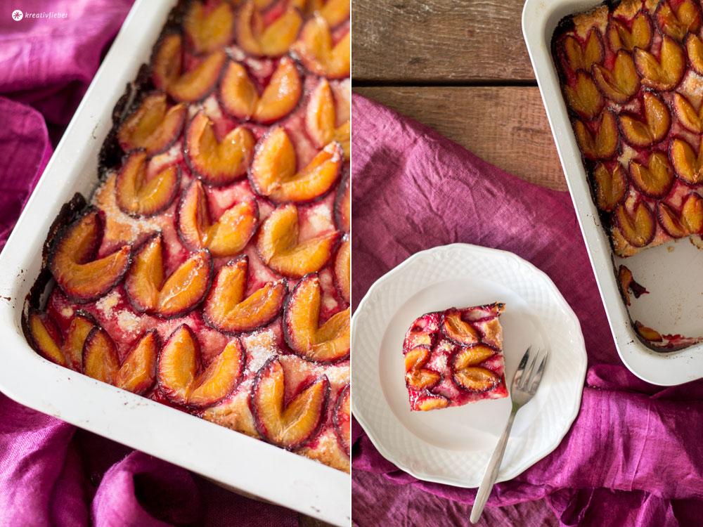 Pflaumenkuchen mit Quark-Öl-Teig - Sonntagskuchenrezept vom Blech - Rezeptidee mit Pflaumen