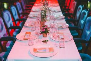Hochzeitstischdeko gold pink