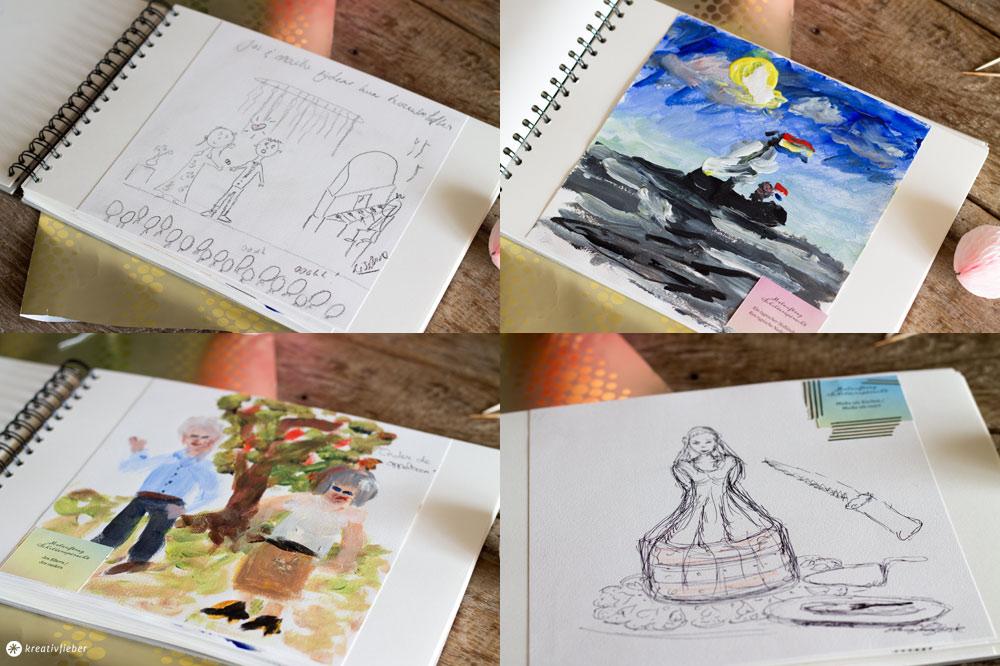 Malauftrag-Gästebuch-Hochzeitsgeschenkidee-kreative-Gästebuchalternative-Beispielseiten