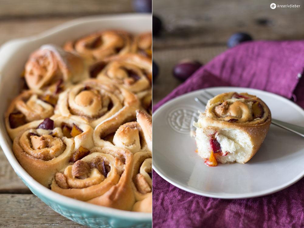 Zimtschneckenkuchen-mit-Pflaumen-und-Marzipan---Rezept-für-Zimtschneckenkuchen