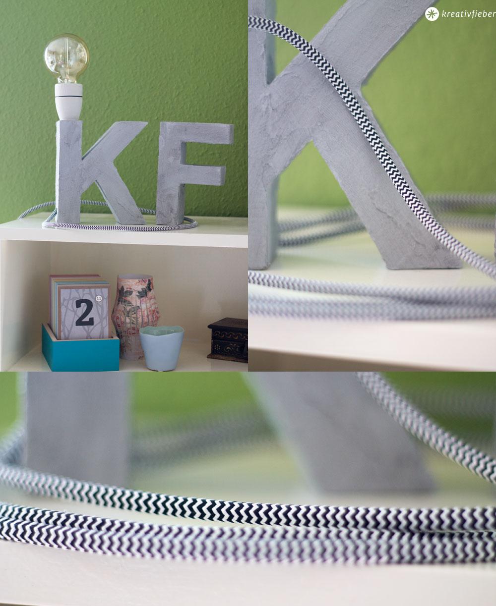 Buchstabenleuchte-mit-Textilkabel-und-Beton-Effekt-selbstmachen
