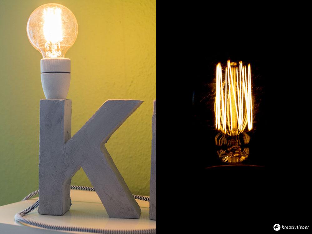 Buchstabenleuchte-mit-Textilkabel-und-Beton-Effekt-und-besonderer-Glühbirne