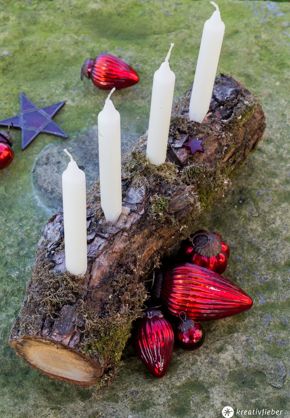 Schnelle adventskranz alternative aus holz diy - Adventsdeko aus holz ...