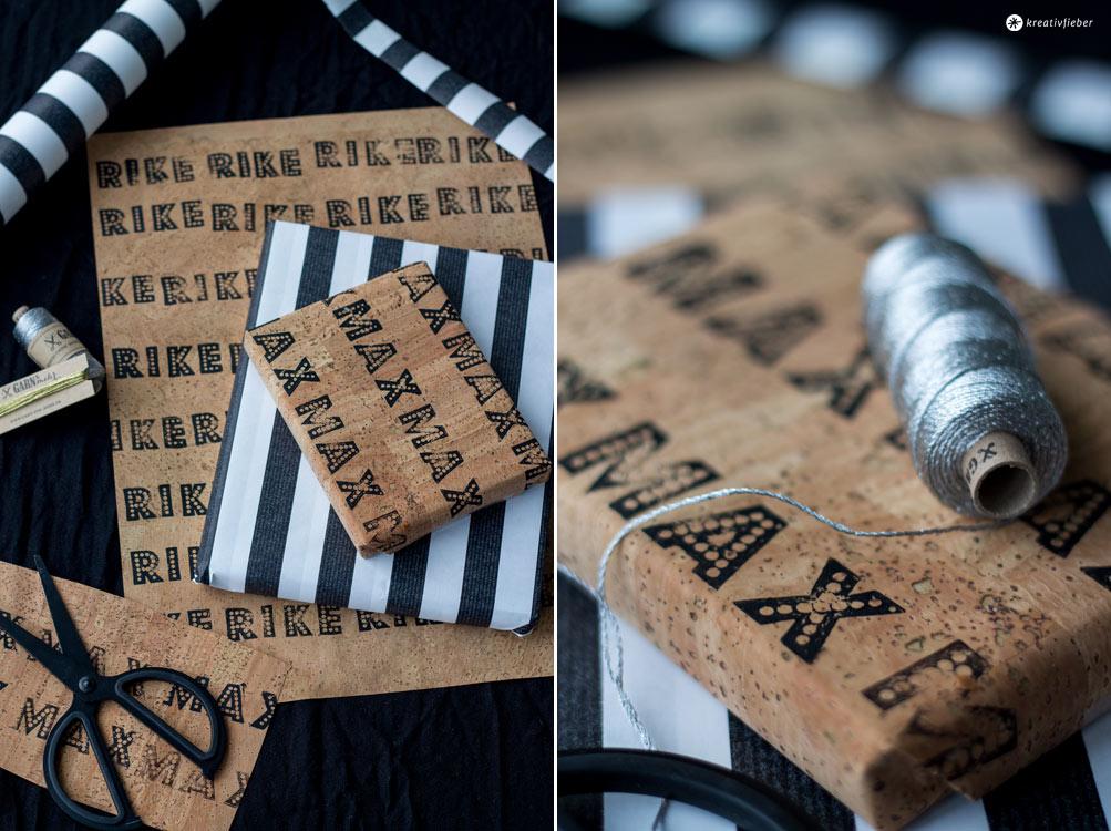 DIY-Geschenke-verpacken-mit-Kork---Geschenke-verpacken-schwarz-weiß-kork