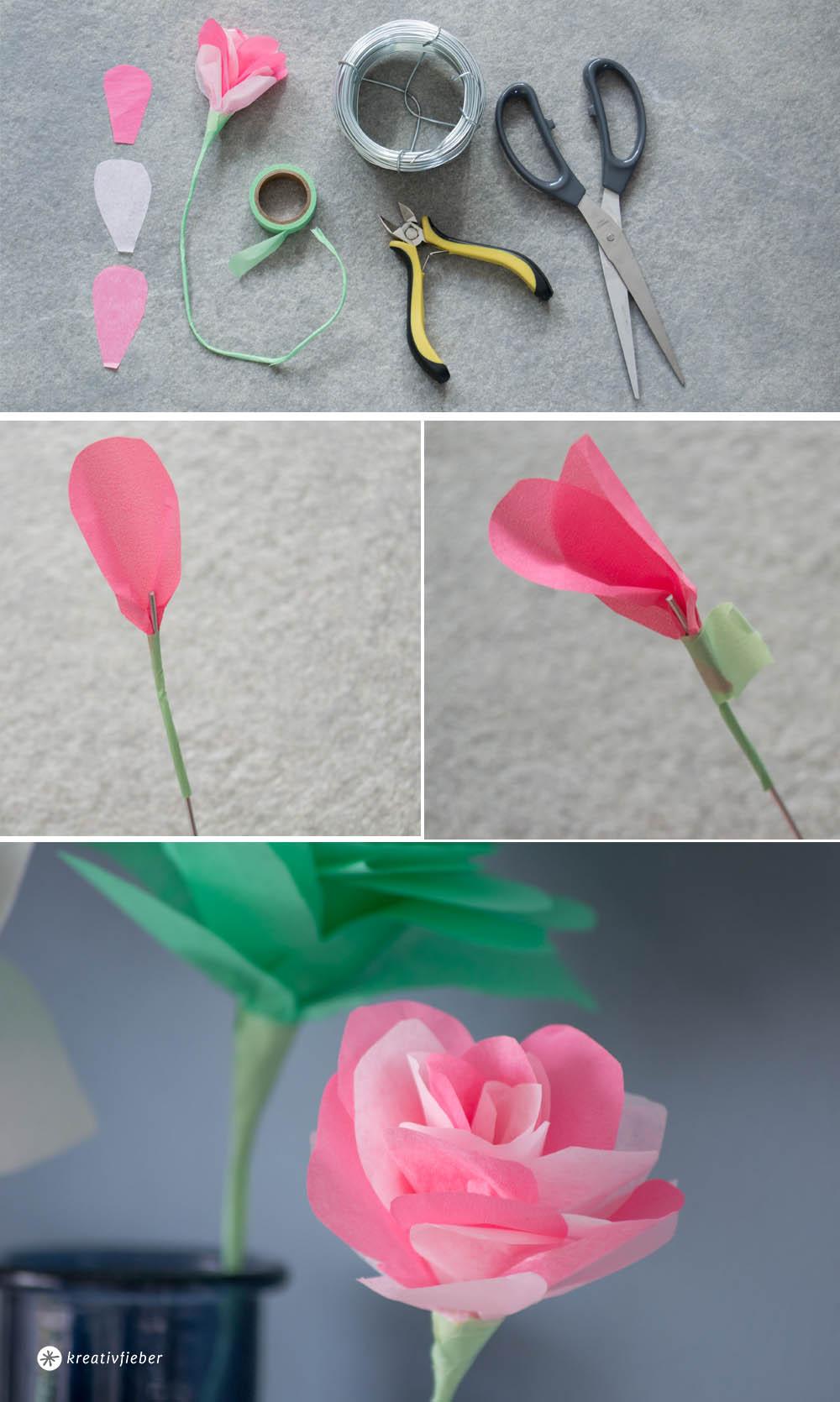 Papierblumen Selbermachen Schritte Rose falten
