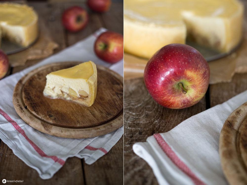 Apfel Marzipan Cheesecake - leckere Backideen - Apfelkäsekuchen backen