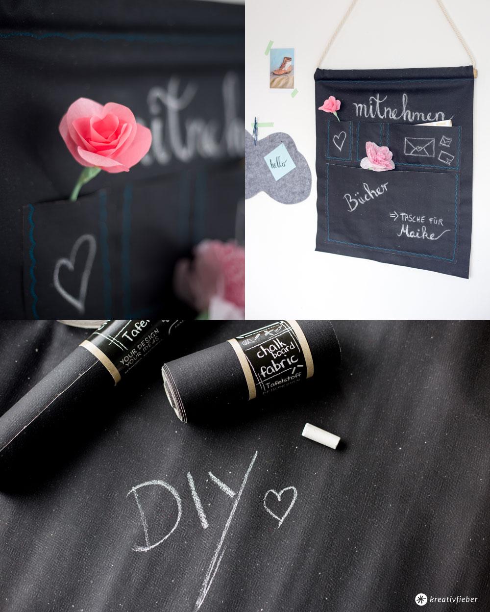 DIY Utensilo aus Tafelstoff fürs Büro oder den Flur - Stoff zum Beschriften mit Kreide - DIY Tutorial