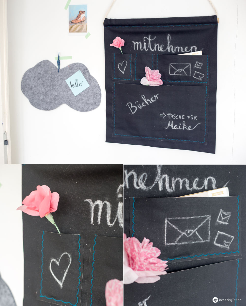 utensilo aus tafelstoff f rs b ro oder den flur kreativfieber. Black Bedroom Furniture Sets. Home Design Ideas