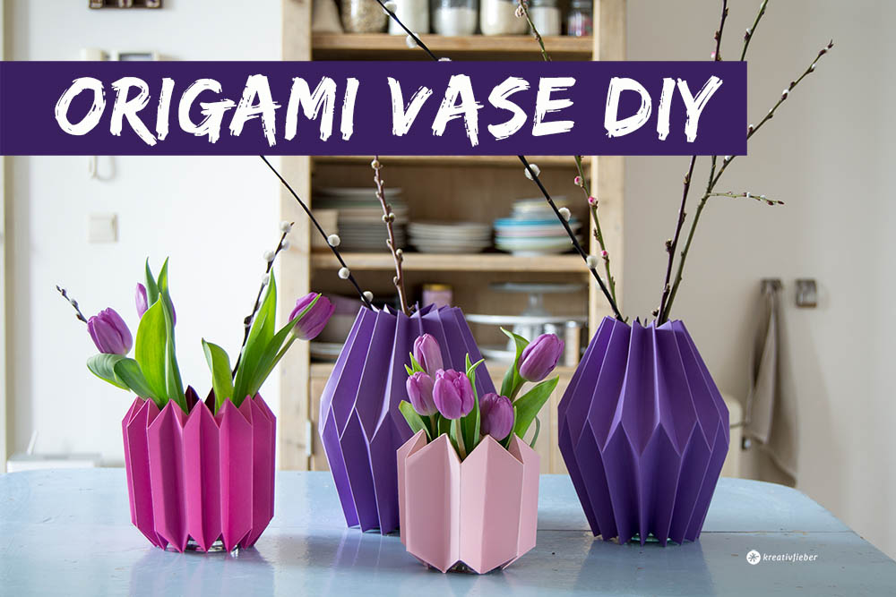 diy origami vase fr hlingsdeko selbermachen kreativfieber. Black Bedroom Furniture Sets. Home Design Ideas