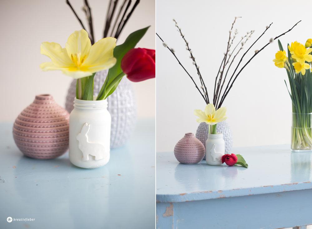 DIY Osterdeko Ideen aus Modelliermasse - Hasenvase in weiß - Ostertischdeko selbermachen