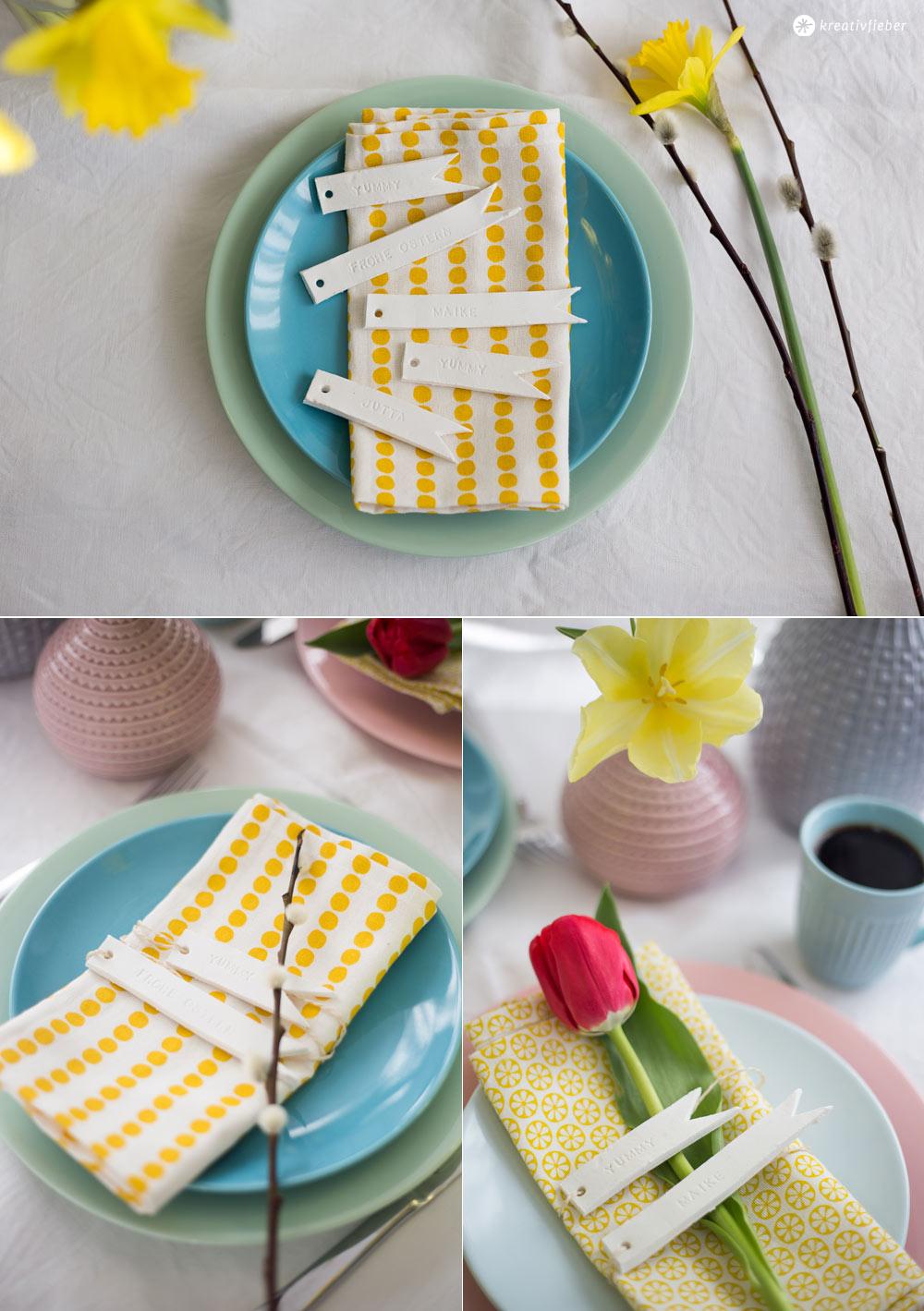Osterdeko Ideen aus Modelliermasse - Tischkärtchen Fähnchen kombiniert mit Pastelltönen - Ostertischdeko