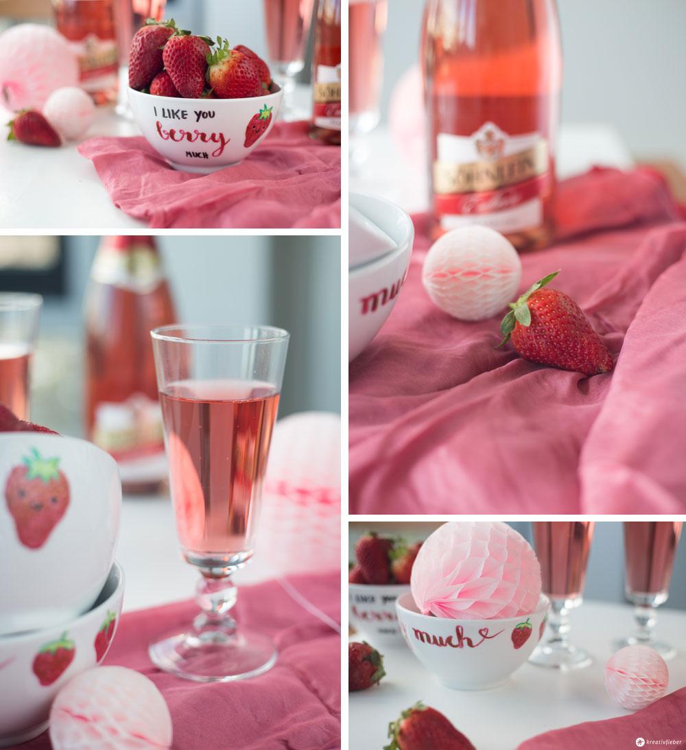 Porzellan DIY - I like you berry much - DIY Müslischale mit Erdbeeren - #erdbeermalanders