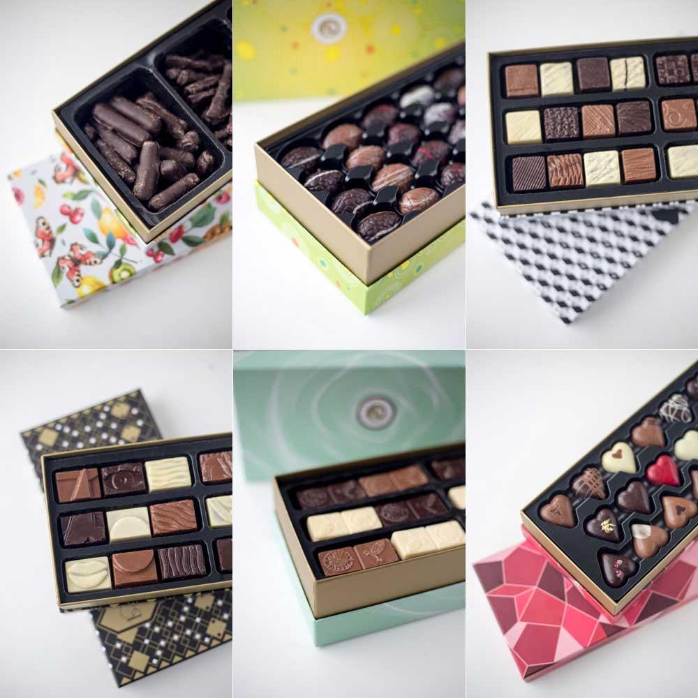 Pralinen von Planete Chocolat in besonderen Pralinenschachteln - DIY Upcycling Ideen