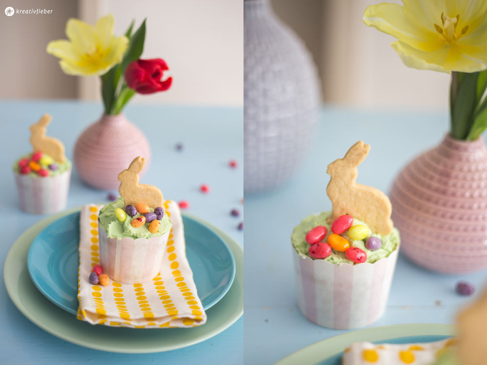 Rezeptidee für Ostern - Hasen Cupcakes mit Vanilleteig und weißem Schokoladentopping